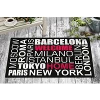 B'Home B'Home Şehirler Tasarım Kapı Önü ve Ev İçi Paspas 45x75 cm