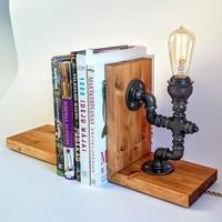 Dekorle Rustik Ampullü Sıkıştırmalı Kitap Tutacağı - DL01165
