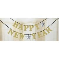 Altın Happy New Year Harf Afiş