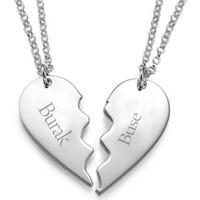 Dzg Silver İsim Yazılan İki Parça Kalpli Kolye İkili Kolye Bayan Gümüş Kolye