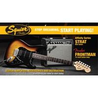 Squier Affinity Series Set Strat HSS Frontman 15G Amp Brown Sunburst Elektro Gitar Seti