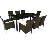 Glam Siyah Cam Koyu Kahve Masa+ 8 Sandalye
