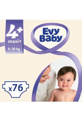 Evy Baby Bebek Bezi Maxiplus 4+ Beden Jumbo Ekonomik Aylık Paket 76 Adet