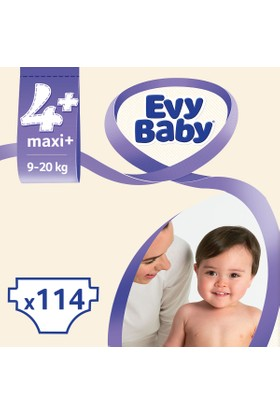 Evy Baby Bebek Bezi 4+ Beden Maxiplus Ekonomik Paket 114 Adet