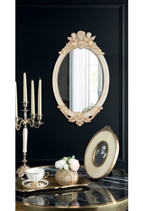 Mademe Coco Melekli Oval Ayna - Bej