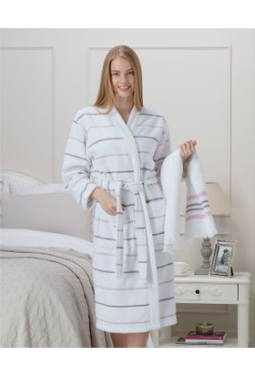 Madame Coco Violette Kadın Kimono Bornoz Seti - Beyaz / Pudra / Mor (S-M)