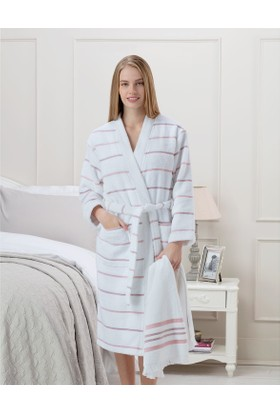 Madame Coco Prune Kadın Kimono Bornoz Seti - Beyaz / Pudra / Mürdüm (S-M)