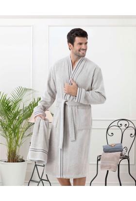 Madame Coco Erkek Kimono Bornoz Seti - Taş