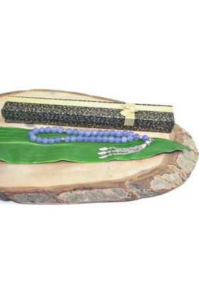 Rd Ekoavm Üç Püskül Yaprak Uçlu Küre Kesim 8 mm Tesbih Dumanlı Mor Akik Tespih Rdt2248
