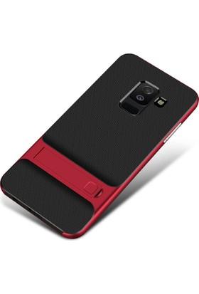 Kny Samsung Galaxy J6 2018 Kılıf Ultra Korumalı Standlı 2 Parça Silikon + Cam Ekran Koruyucu - Kırmızı