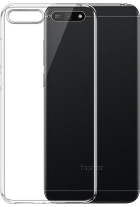Kny Huawei Y6 2018 Kılıf Ultra İnce Şeffaf Silikon + Cam Ekran Koruyucu