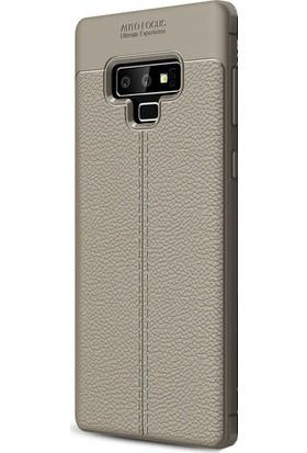 Kny Samsung Glaxy Note 9 Kılıf Deri Desenli Lux Niss Silikon + Full Body Jelatin - Gri