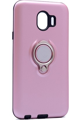 Kny Samsung Galaxy J4 2018 Kılıf Ultra Korumalı Sert Ring Youyou Kapak + Cam Ekran Koruyucu - Rose Gold
