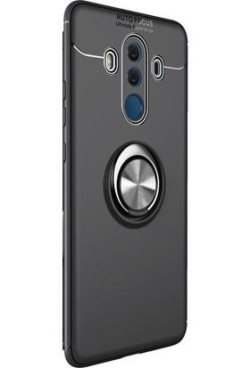 Kny Huawei Mate 10 Pro Kılıf Ultra Korumalı Yüzüklü Ravel Silikon + Cam Ekran Koruyucu - Siyah