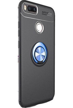 Kny Xiaomi Mi A1 (5X) Kılıf Ultra Korumalı Yüzüklü Ravel Silikon + Cam Ekran Koruyucu - Mavi