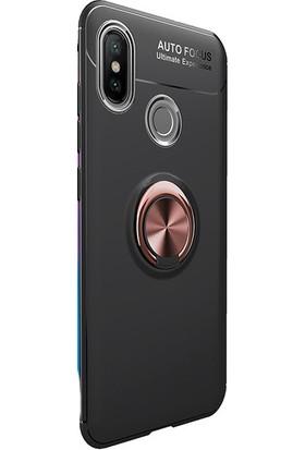 Kny Xiaomi Mi 8 Kılıf Ultra Korumalı Yüzüklü Ravel Silikon + Cam Ekran Koruyucu - Rose Gold