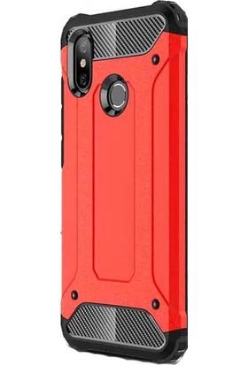 Kny Xiaomi Mi A2 (6X) Kılıf Ultra Korumalı Çift Katmanlı Armour Case + Cam Ekran Koruyucu - Kırmızı