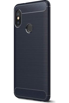 Kny Xiaomi Mi A2 (6X) Kılıf Ultra Korumalı Room Silikon + Cam Ekran Koruyucu - Lacivert