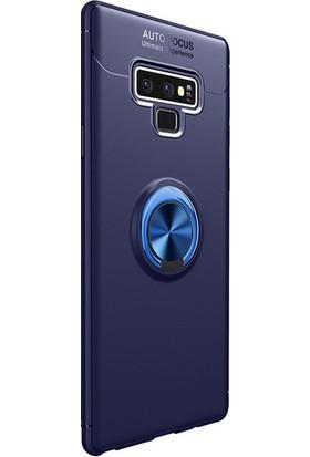 Kny Samsung Galaxy Note 9 Kılıf Ultra Korumalı Yüzüklü Ravel Silikon - Lacivert