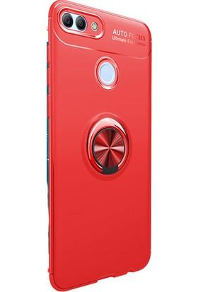 Kny Huawei Y7 2018 Kılıf Ultra Korumalı Yüzüklü Ravel Silikon + Cam Ekran Koruyucu - Kırmızı