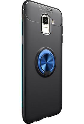 Kny Samsung Galaxy A6 2018 Kılıf Ultra Korumalı Yüzüklü Ravel Silikon + Nano Cam Ekran Koruyucu - Mavi