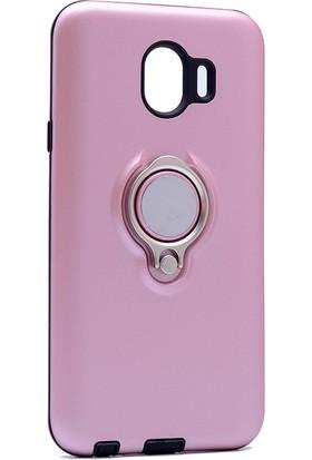 Kny Samsung Galaxy J4 2018 Kılıf Ultra Korumalı Sert Ring Youyou Kapak + Nano Cam Ekran Koruyucu - Rose Gold