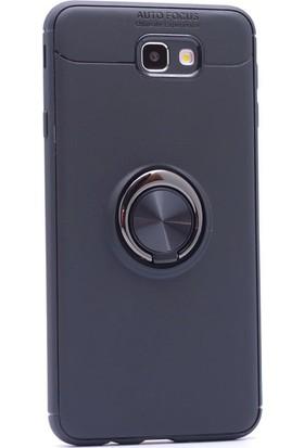 Kny Samsung Galaxy J7 Prime Kılıf Ultra Korumalı Yüzüklü Ravel Silikon + Nano Cam Ekran Koruyucu - Siyah