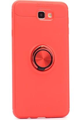 Kny Samsung Galaxy J7 Prime Kılıf Ultra Korumalı Yüzüklü Ravel Silikon + Nano Cam Ekran Koruyucu - Kırmızı