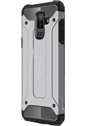 Kny Samsung Galaxy J8 2018 Kılıf Çift Katmanlı Amour Case + Nano Cam Ekran Koruyucu - Gri