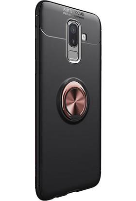 Kny Samsung Galaxy J8 2018 Kılıf Ultra Korumalı Yüzüklü Ravel Silikon + Nano Cam Ekran Koruyucu - Rose Gold