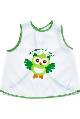 Babyjem Yeni Poli Muşamba Önlük Beyaz/Yeşil Biye