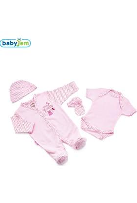 BabyJem Premature Zıbın Seti Tulumlu 4'Lü / Pembe