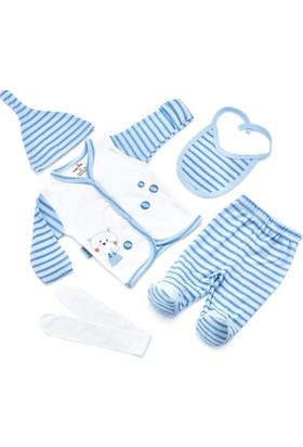 BabyJem Puanlı Premature Zıbın Seti (5'Li) / Mavi Puanlı