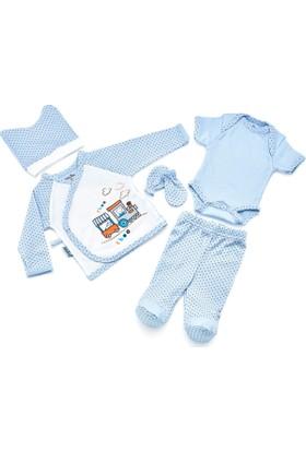 BabyJem Premature Zıbın Seti Pijamalı 5'Li / Mavi