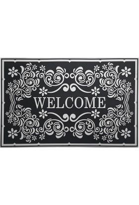 B'Home B'Home Welcome Barok Kapı Önü Paspas 45x70 cm Gümüş