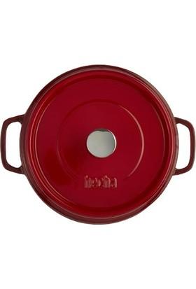 Hecha Döküm Tencere 20 cm Kırmızı