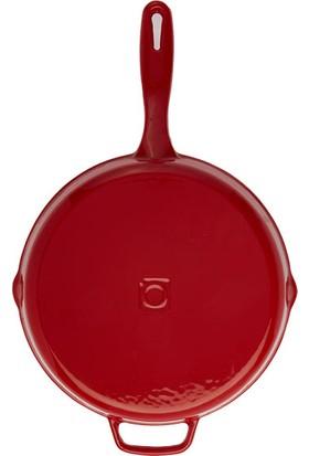 Hecha Döküm Düz Yuvarlak Tava 28 cm Kırmızı