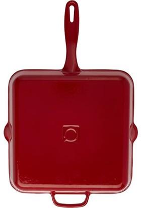 Hecha Döküm Kare Izgara Tava 28 cm Kırmızı