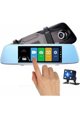 Novatek NT710HD + 32 GB Hafıza Kartı 7 İnç Dokunmatik IPS Ekran Türkçe Menü 14MP Full HD 1080p Dikiz Aynalı Çift Yön Araç İçi ve Geri Vites Kamerası