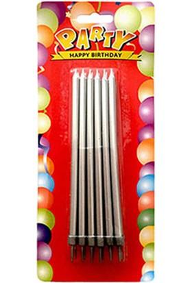 Gümüş Yaldız Doğum Günü Mum ve Altlık 14 cm