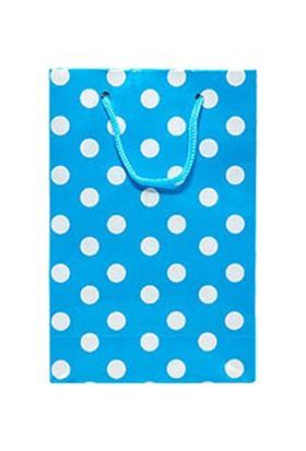 Mavi Puantiyeli Mini Karton Çanta