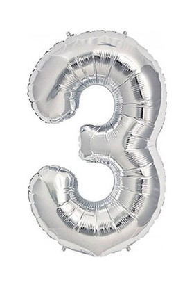 3 Rakam Gümüş Folyo Balon 90cm