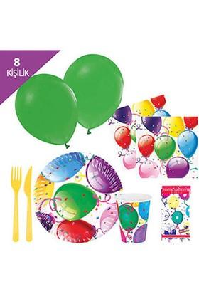 Roll-Up Rengarenk Balonlu Parti Seti 8 Kişilik
