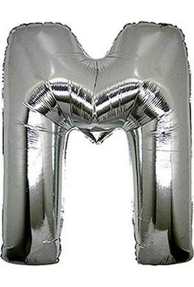 M Harf Gümüş Folyo Balon 40cm