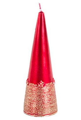 Konik Mum Metalik Kırmızı 15 cm
