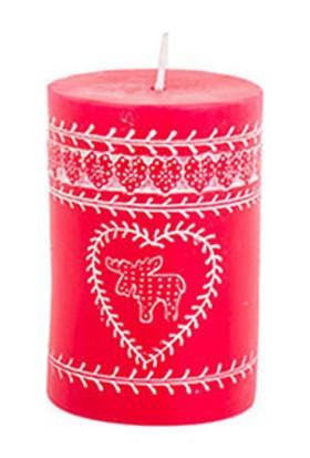 Kırmızı Kütük Mum Desenli 10 cm