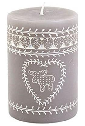 Gümüş Kütük Mum Desenli 10 cm
