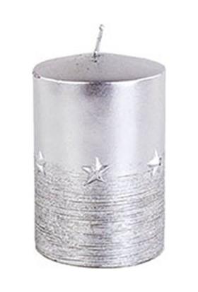 Yıldızlı Kütük Mum Gri 10 cm