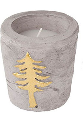 Altın Ağaç Desenli Bardak Mum 9 cm