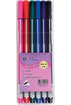 Masis Trio Pen Üçgen İnce Uç Keçeli Kalem 6 Renk